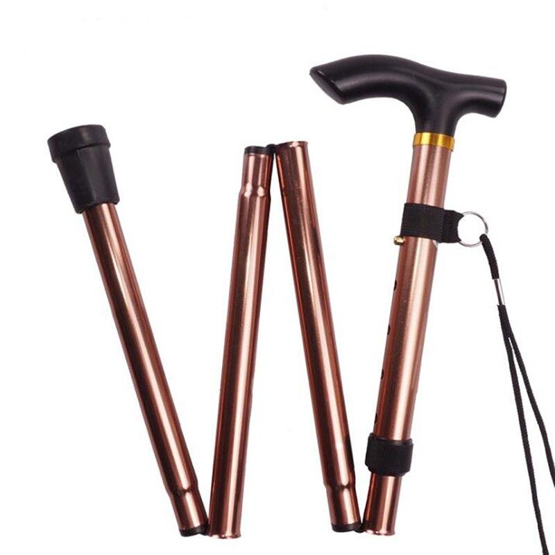 Walking Stick Telescopic Baton Hiking Trekking Poles Aluminum Alloy Metal Folding Cane Crutches Pole For Elderly People