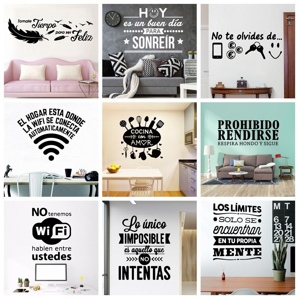 Frases divertidas en español pegatinas de pared impermeables decoración de arte de...