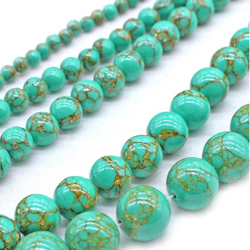 Verde turquesa pedra fio de ouro natural contas de pedra redonda solta contas 4 6mm escolher tamanho contas para jóias que fazem acessórios