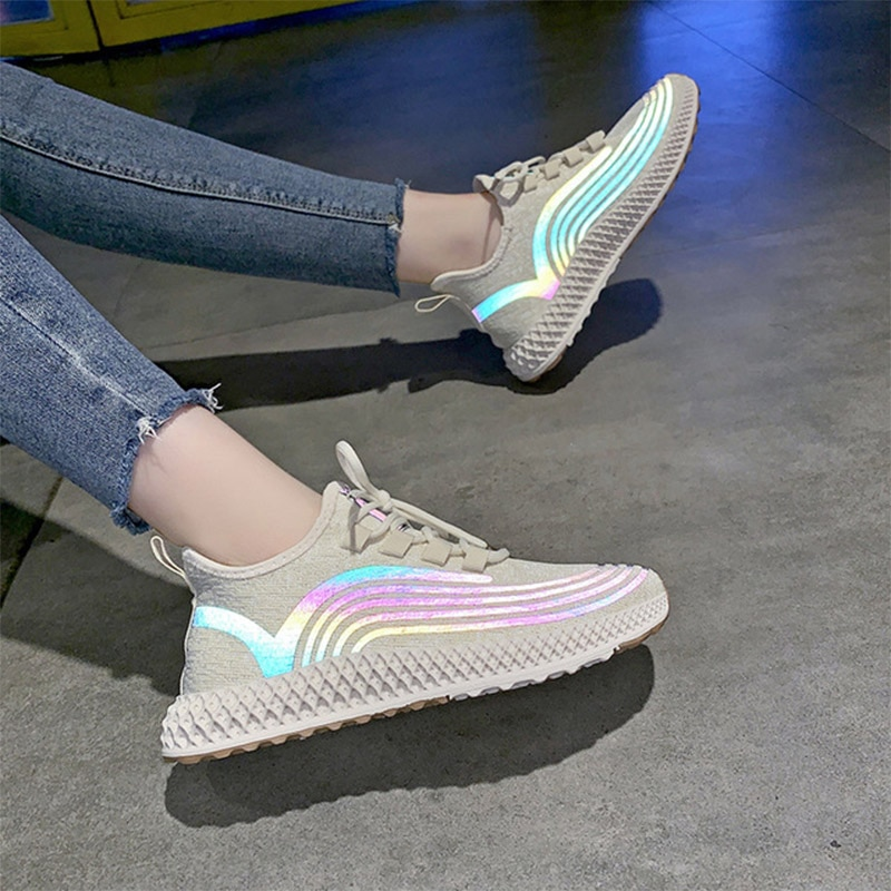Baskets femme plate-forme chaussures décontractées femme lacets toile respirant femmes vulcaniser chaussures tissu extensible dames chaussures