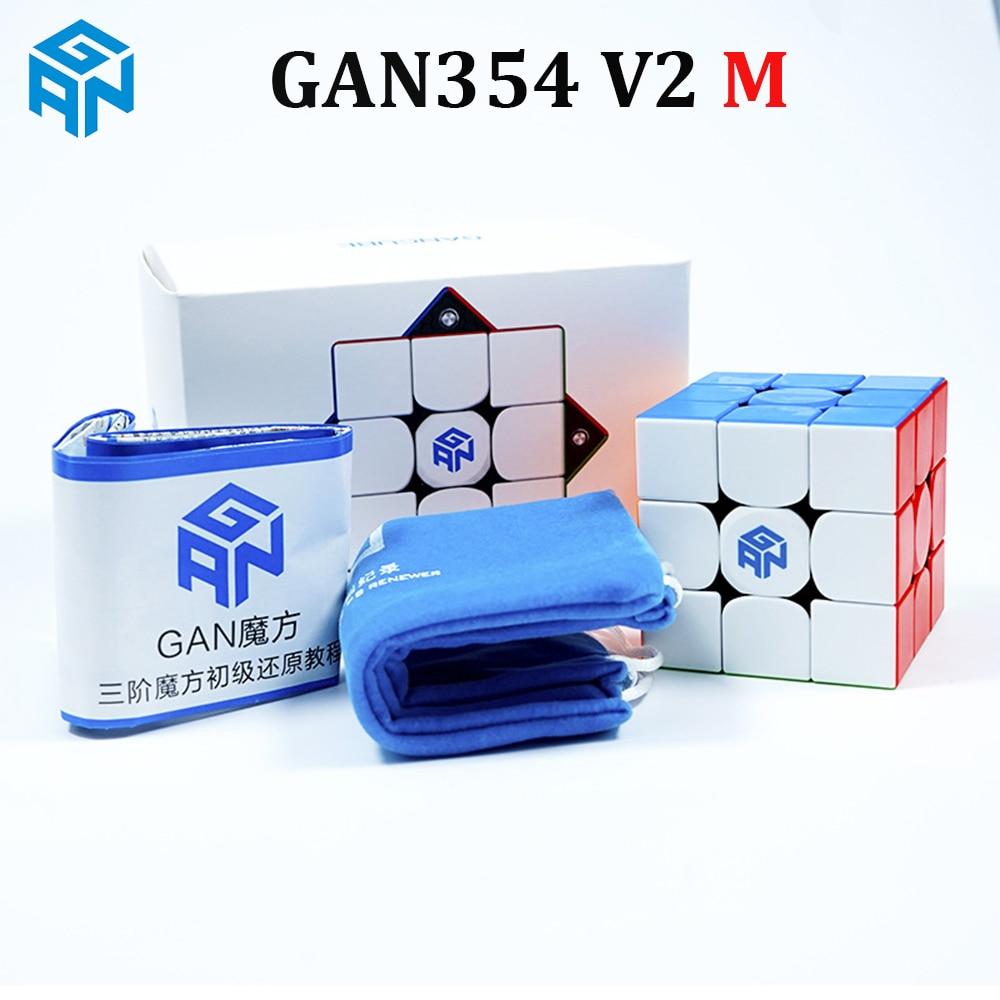 GAN354 V2 M Magnetic 3x3x3 Speed Cube 54mm Stickerless 3x3 Magic Cube Puzzle GAN 354 M 3x3 Cubo Magico kids Toys for Children