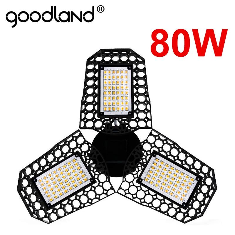 80W 60W 40W E27 LED Lamp 110V 220V LED Bulb Deformable High Power Smart Light For Warehouse Factory Garage Basement Gym