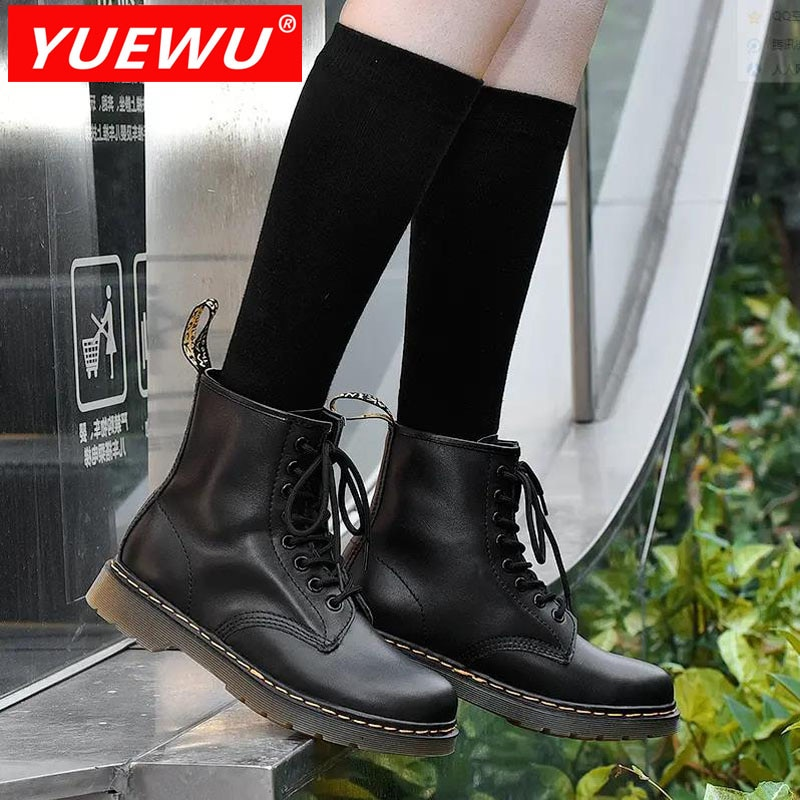 Yuewu Genuine Leather Marten Boots for Women Ladies Ankle Platform Lining Female Booties Shoes Woman Casual Chunky Hot Sale