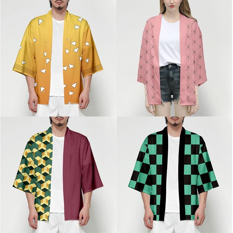 Anime Demon Slayer Kimetsu No Yaiba Tanjiro Kamado Cosplay disfraz hombres Kimono talla grande chaquetas Halloween fiesta para mujer