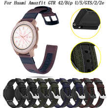 Quick Release Watch Strap Premium Nylon Watch Band with Black Silver Stainless Buckle 20mm For Huami Amazfit GTR 42/Bip/GTS/2e
