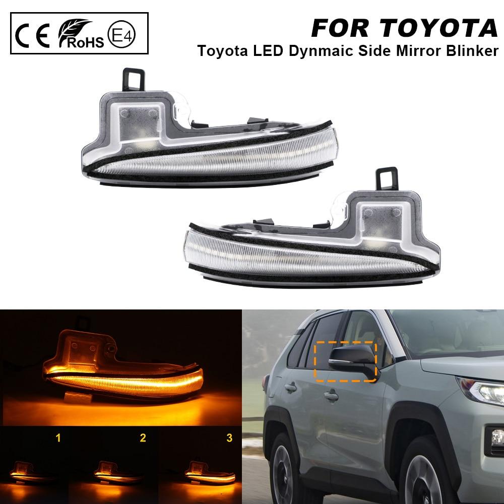 2X Clear LED Dynamic Mirror Blinker Light Turn Signal Lamp For Toyota Tacoma MK3 N300 Highlander MK4 Alphard MK3 RAV4 Lexus LM