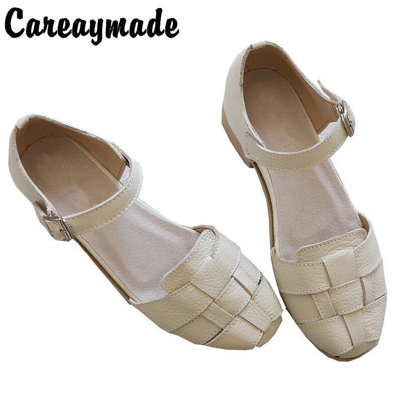 Careaymade-Genuine Leather Sandals,handmade white shoes,the retro art mori girl Flats shoes,Retro classic shoes,2 colors