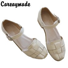 Careaymade-sandálias de couro genuíno, sapatos brancos artesanais, a arte retro mori menina sapatos planos, sapatos clássicos retro, 2 cores