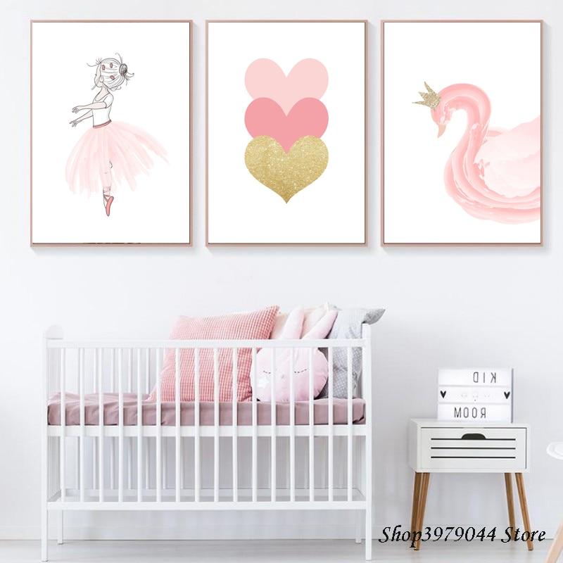 Póster de habitación de bebé, lienzo de Cisne Nórdico, pintura de corazón rosa, guardería, arte de pared, Impresión de Ballet, póster de pared, imagen de pared, decoración de habitación de niña bebé