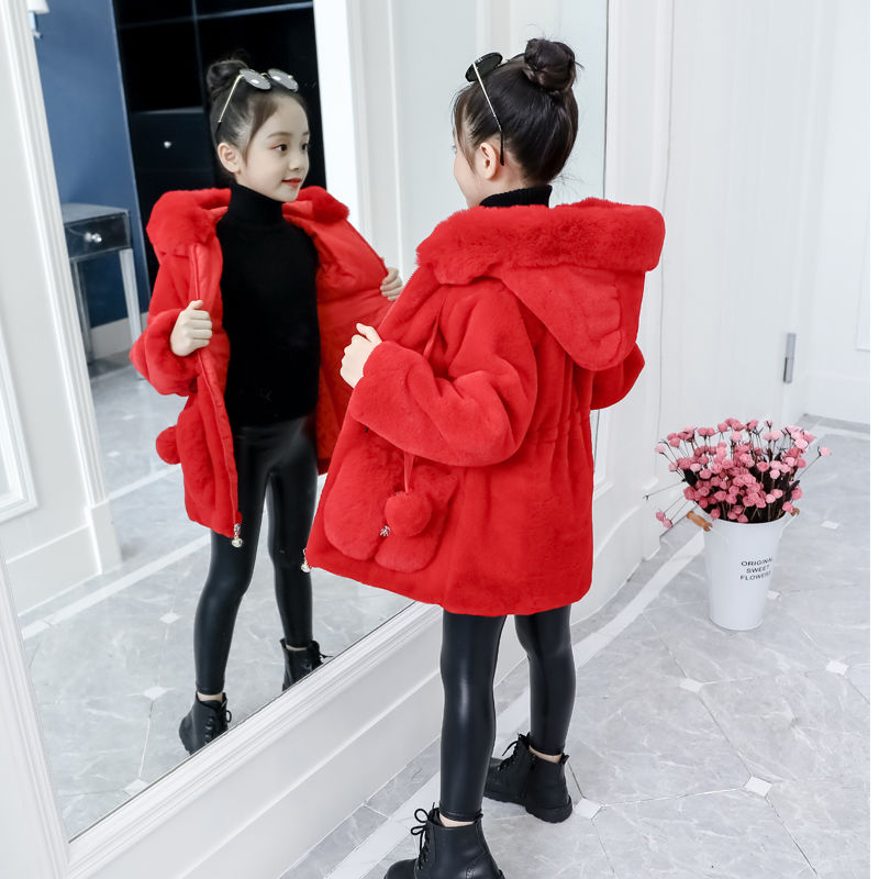 2021 Autumn Winter Kids Coats Soft Hooded Jackets For Toddler Girls Faux Fur Outerwear Baby Girl Clothes Children's Clothing D59 enlarge