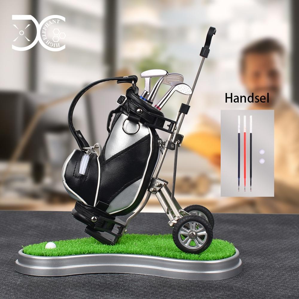 Novel Golf Pen Holder with 3 Pieces Aluminum Pen Office Desk Decoration Golf Bag Pencil Holder for Fathers Day Golf Souvenirs