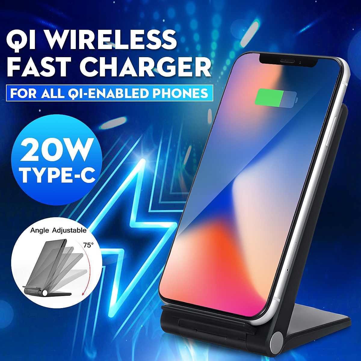 Cargador inalámbrico 20W Qi para iPhone 11 Pro XR XS Max Xiaomi mi 10 soporte de carga inalámbrico rápido para Samsung S20 S10
