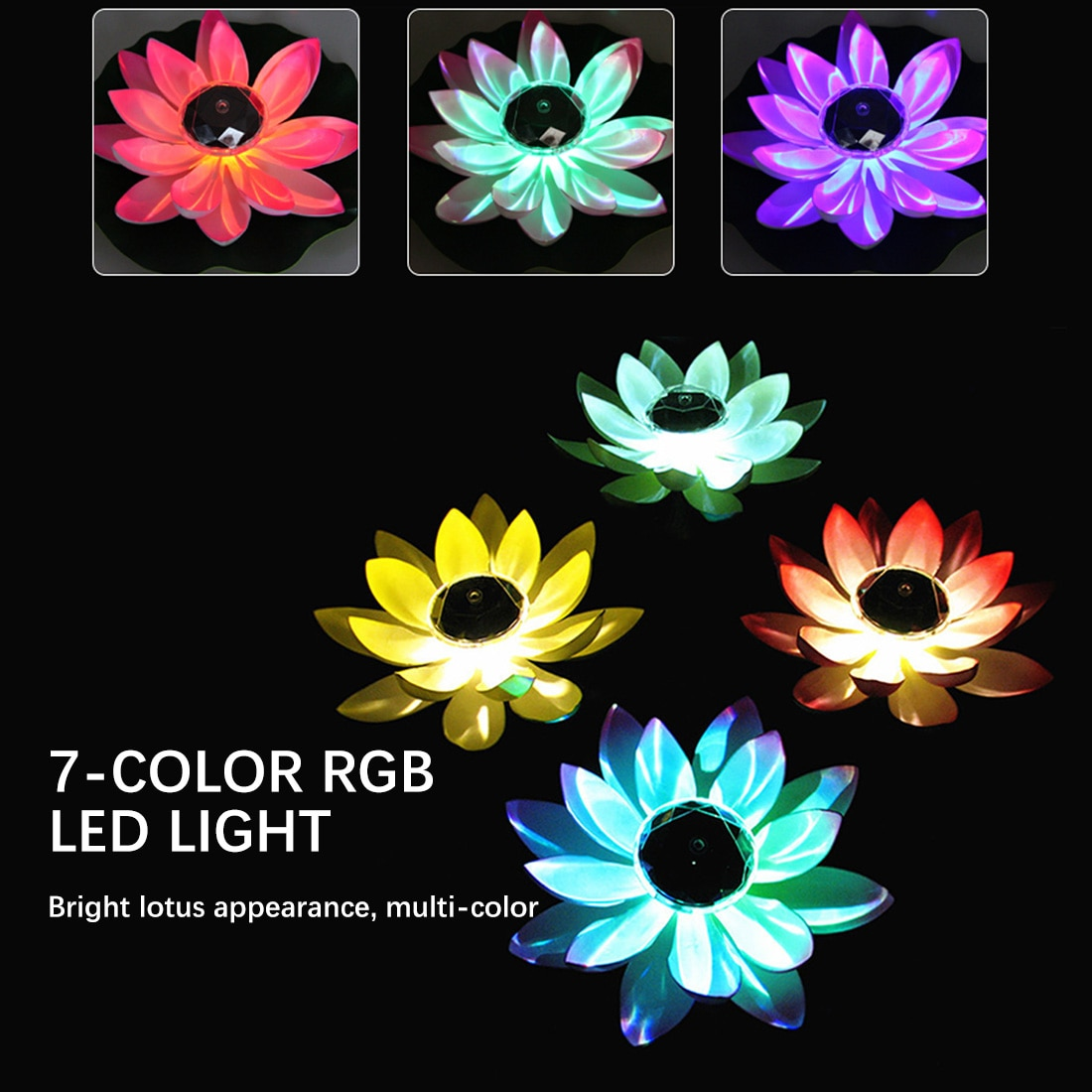 flor de lotus forma lagoa lanterna luz flutuante led festival outdoorwaterproof jardim