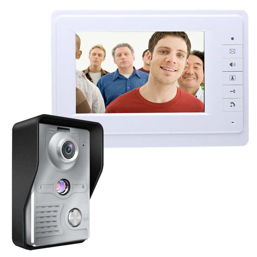 Visual Intercom Doorbell 7'' TFT Color LCD Wired Video Door Phone System Indoor Monitor 700TVL Outdoor IR Camera Support Unlock