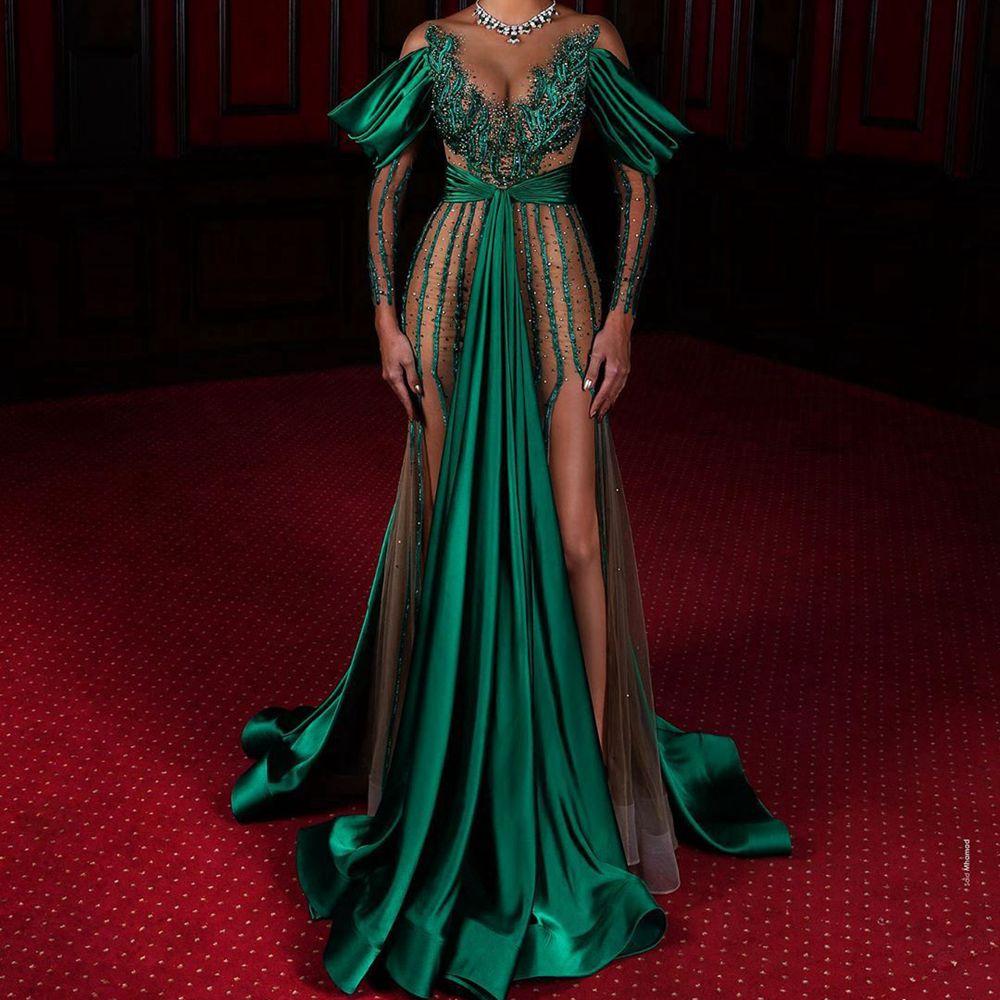 Luxury Long Evening Dresses Elegant V-neck Tulle Illusion Prom Gowns Crystal Handmade  Formal Party Dress Vestido De Festa недорого