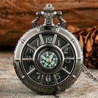 Compass Design Vintage Hollow Skeleton Pocket Watch Black Starry Round Dial Antique Pendant Clock Retro Gifts Men Women