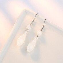 White Coloured Glaze Magnolia Flower Drop Earrings Fashion Elegant Silver Plated Handing Dangling Earrings For Women