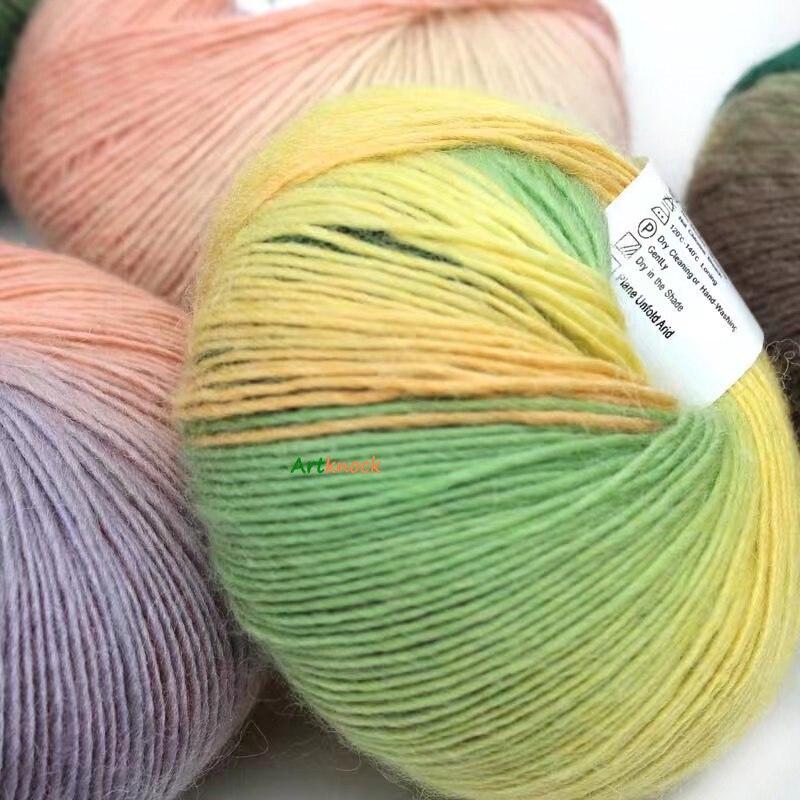 50g arco-íris fio de lã crochê fantasia lana tricô fio croche laine mão tricô colorido macio fino