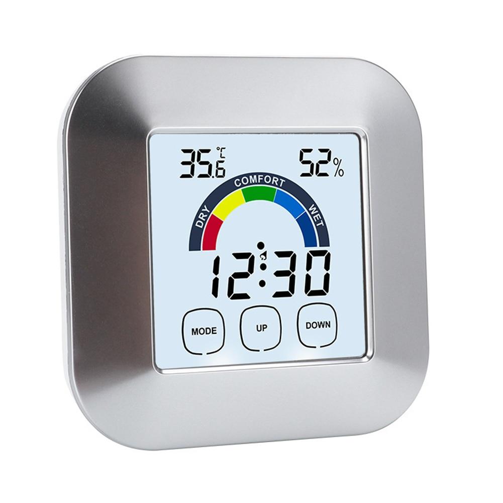 Tela de Toque Medidor para Casa ao ar Umidade com Luz Termômetro Eletrônico Digital Higrômetro Livre Sensor Temperatura Medidor Fundo