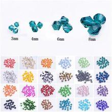 Perles amples à facettes en verre cristal Bicone 3mm/6mm/8mm, vente en gros pour la fabrication de bijoux