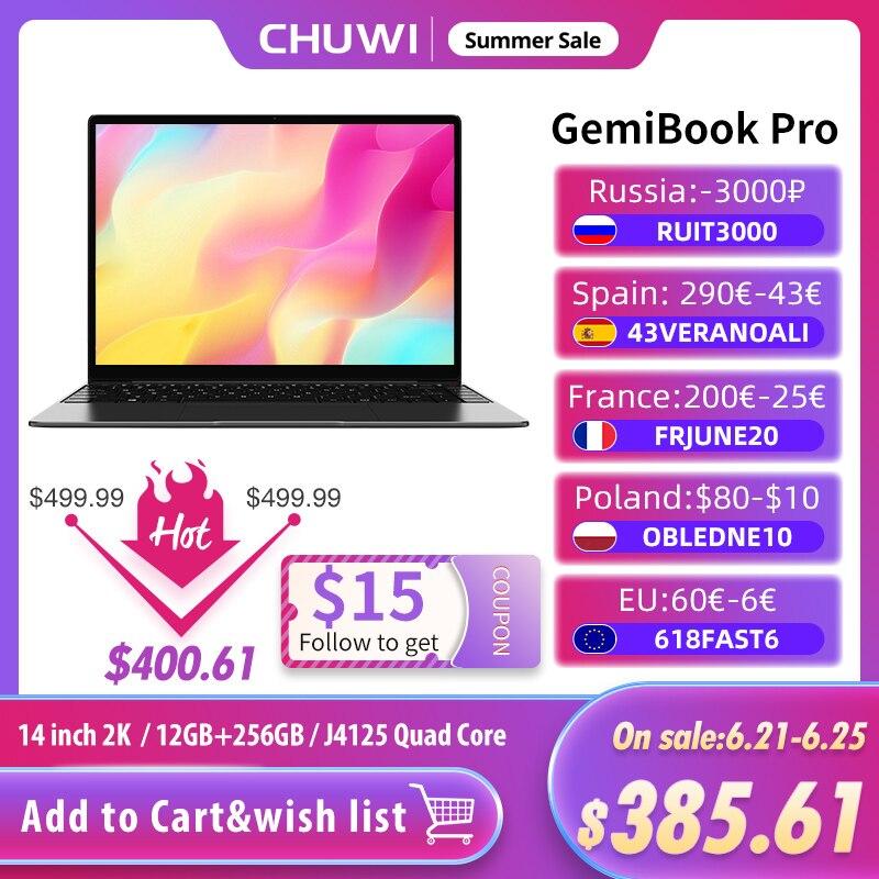 CHUWI GemiBook Pro 14inch 2K Screen 12GB RAM 256GB Laptop Intel Gemini lake J4125 Quad Core SSD Windows 10 With backlit keyboard