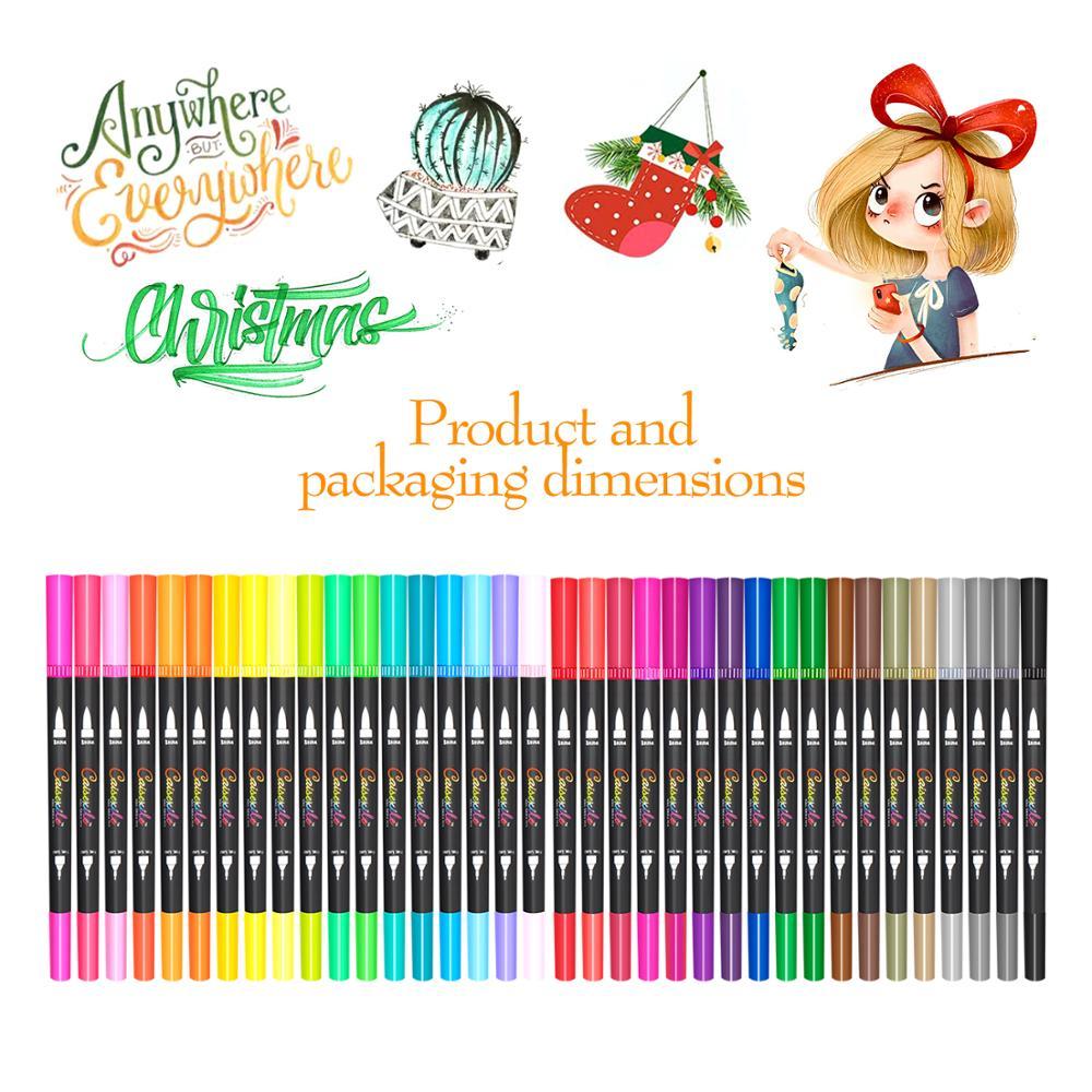 36 cores pontas duplas aquarelas escova caneta arte marcadores conjunto para desenho esboçar coloração arte suprimentos marcadores profissionais