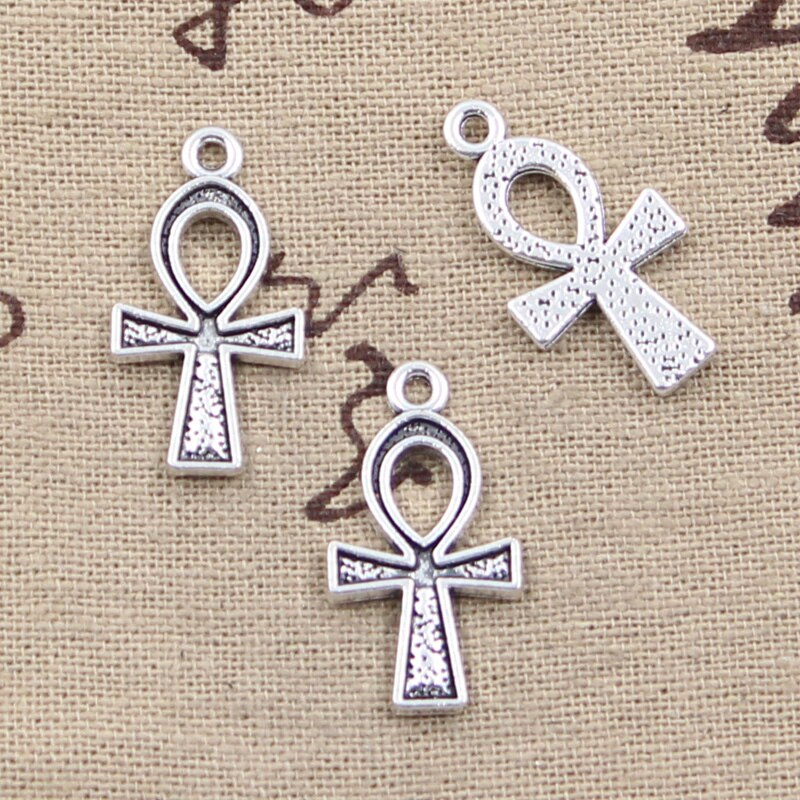 20pcs Charms Anka Cross Egyptian Ankh Symbol 25x14mm Antique Silver Color Pendants DIY Making Findings Handmade Tibetan Jewelry