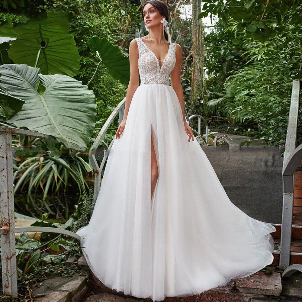 Review Elegant Deep V-Neck Wedding Dress A-Line High Slit Sleeveless Zipper Back Sweep Train Bridal Gowns 2021 Vestido De Noiva