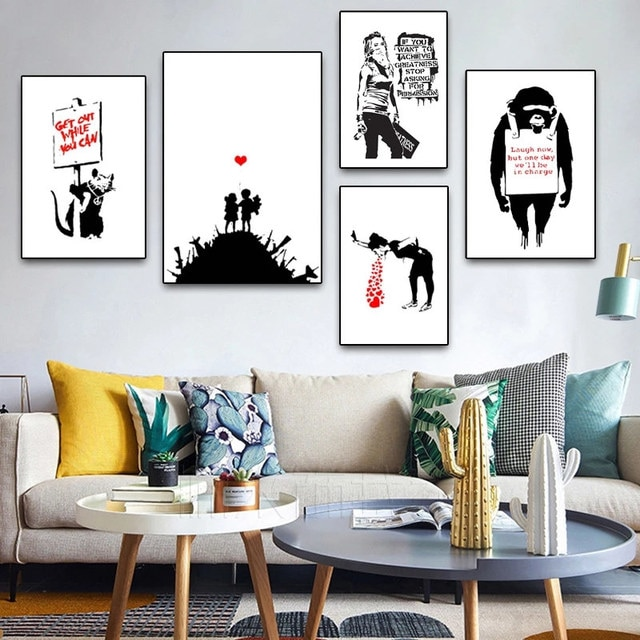 Banksy Graffiti Artwork Canvas Painting Girl With Red Balloon Poster Black White Abstract Wall Pictures for Nordic Home Decor 8