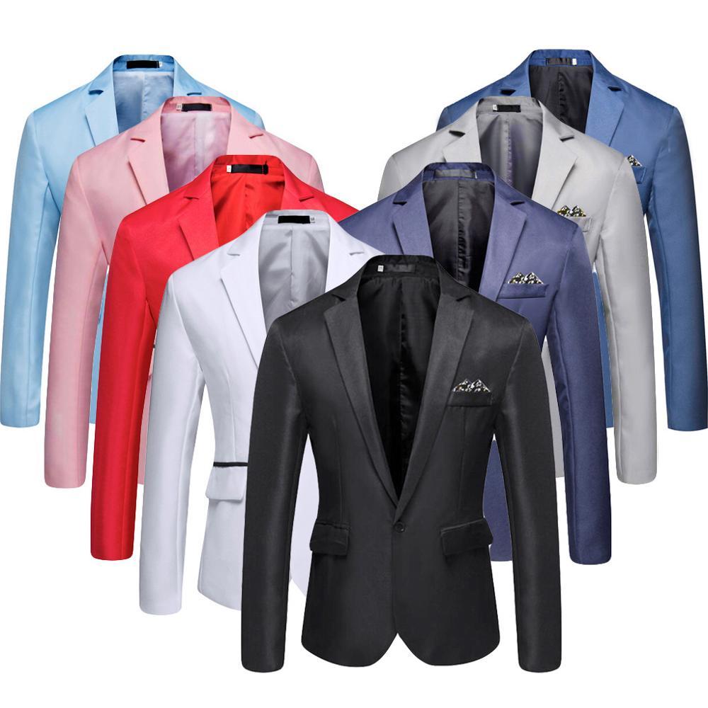 Blazer sólido informal elegante para hombre, de negocios, para fiestas de boda, prendas de vestir, para hombre, 2019, para primavera, otoño, para hombre, ajustado