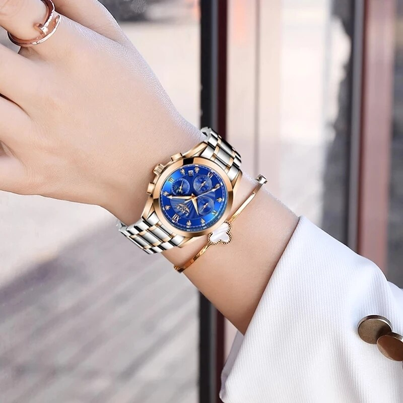 LIGE 2021 New Women Watches  Gold Watch Ladies Creative Steel Womens Bracelet Watches Female Waterproof Clock Relogio Feminino enlarge