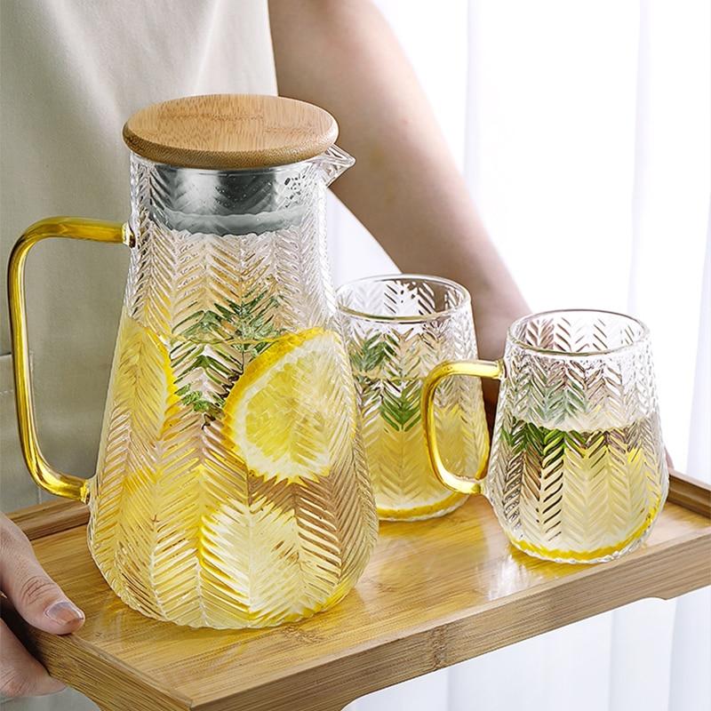 إبريق زجاجي للماء غلاية الماء البارد براد شاي الإبداع الزجاج إبريق الماء مع غطاء خشبي 1400 مللي 1500 مللي 1800 مللي مللي للاستخدام المنزلي