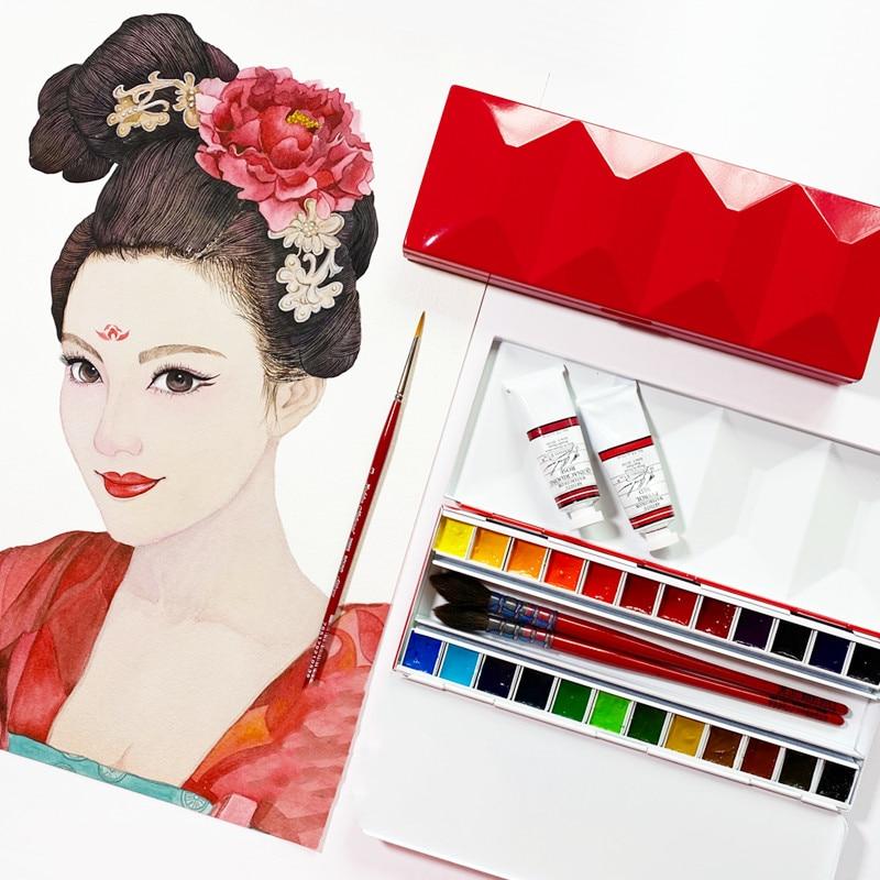 Heavy enamel, dustproof and moisturizing solid watercolor palette 24 grid portable art paint empty box For art supplies