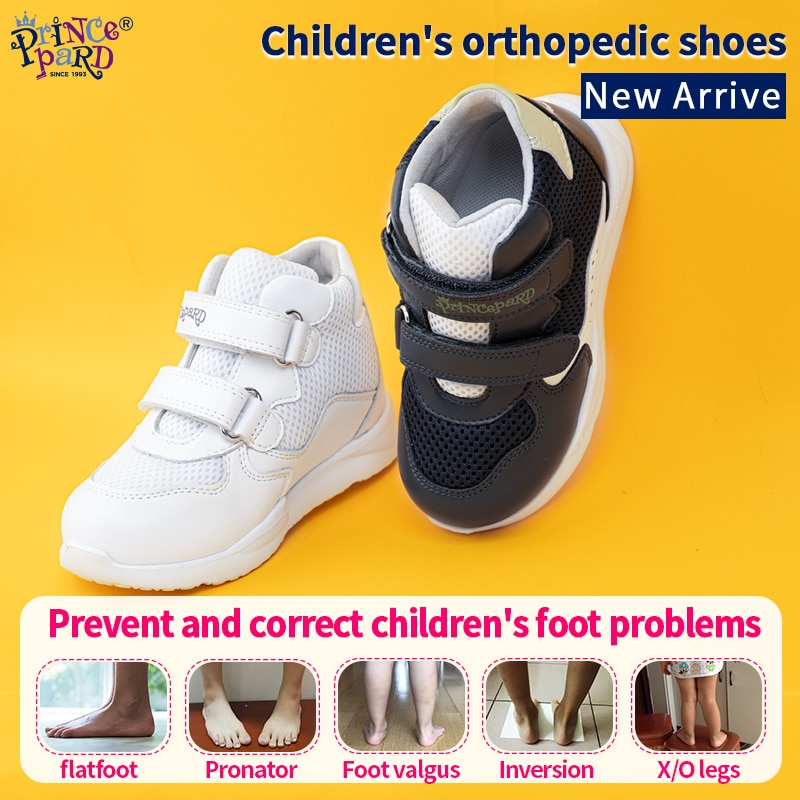 Princepard Orthopedic Shoes Korean Sneakers for Children Kids Sprots Shoes Spring Autumn White Navy Color 19-37 European Size enlarge