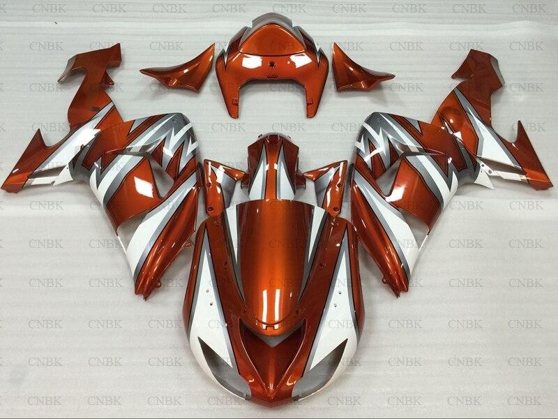 Kits de cuerpo completo para carenados Kawasaki ZX10r 2007 ZX-10r 06 ZX-10r carenado 2006 - 2007 naranja blanco plata
