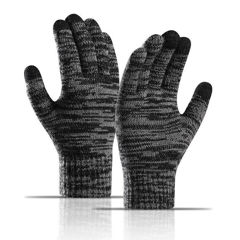 2021 модные вязаные перчатки, зимние перчатки для мужчин, деловые плотные теплые варежки для взрослых с бархатной подкладкой, толстые варежки...