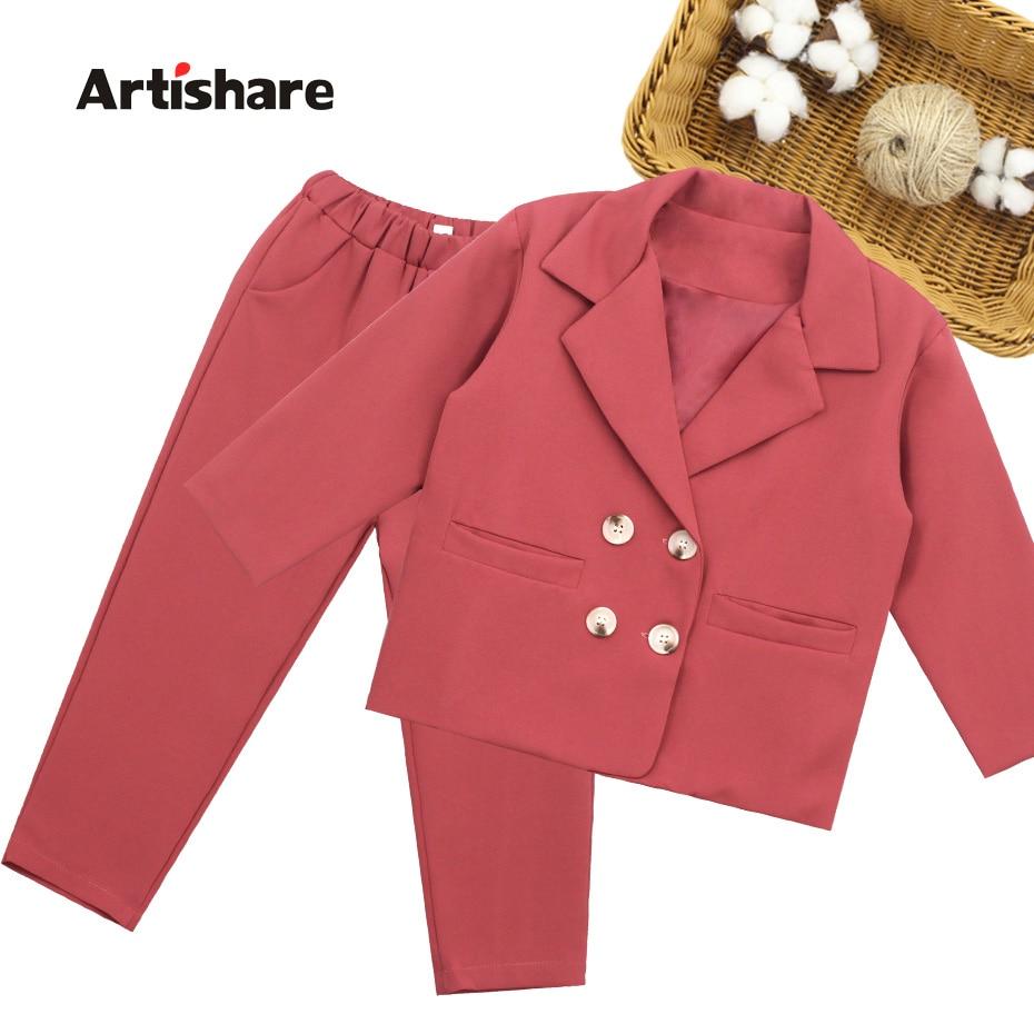 Meninas terno conjunto de cor sólida meninas roupas outerwear + calças meninas roupas conjunto adolescentes crianças ternos 6 8 10 12 14 ano