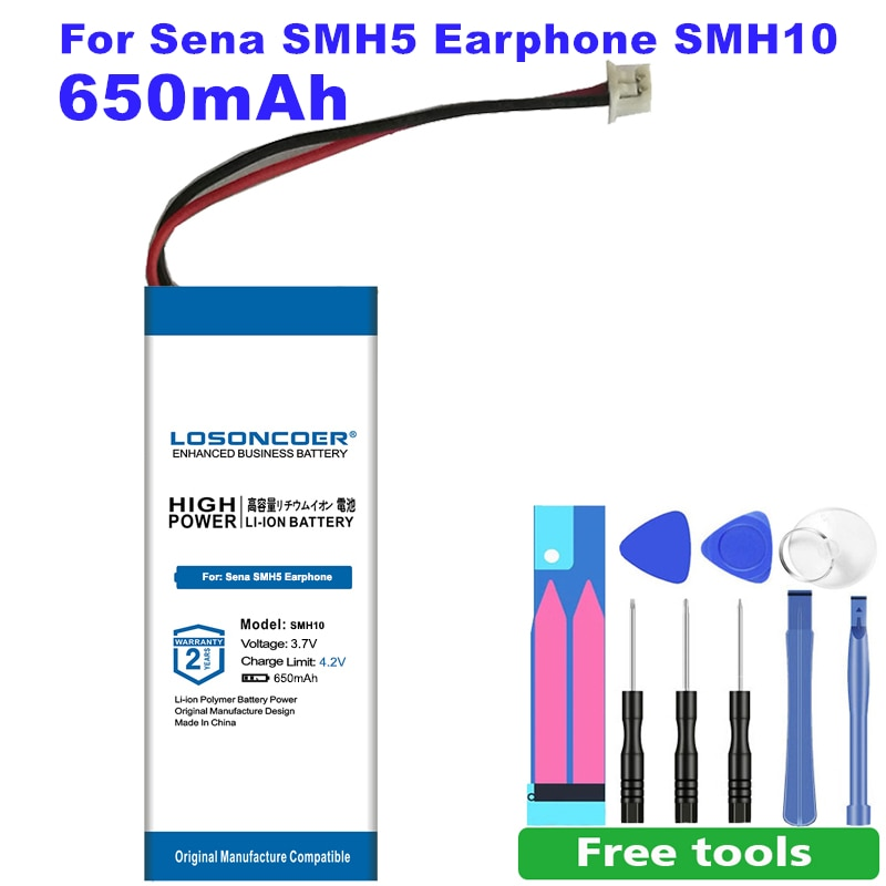 LOSONCOER 650 мАч SM H10 SMH10 батарея для наушников Sena SMH5 SMH10 гарнитура аккумулятор бесплатные инструменты + наклейка в наличии