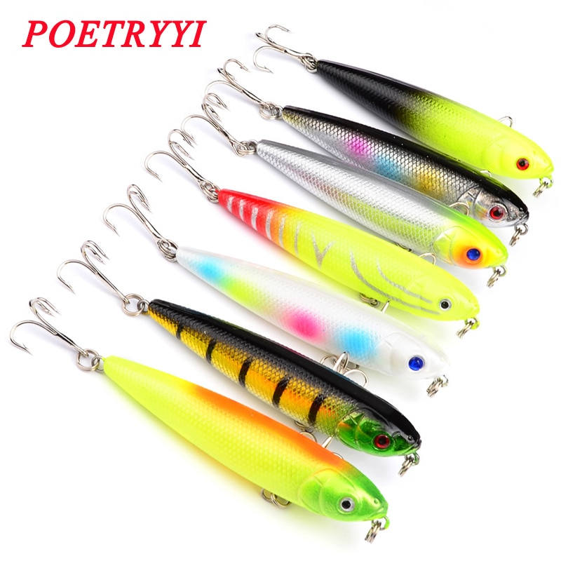 1PCS Top Water Artificial Lure Hard Plastic Fishing Lure Surface Pencil Minnow Bait 8.6g 8cm/5g 7.5cm Hook Size 6# 30 trulinoya magnet is centrifuged super minnow simuation fish 65mm 5 5g lure water hard bait fishing lure hook fishing
