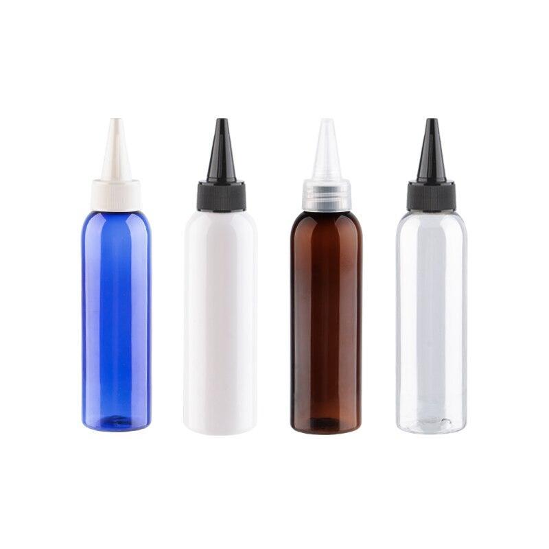150ml 12 Uds venta al por mayor de plástico de alta calidad tapas de botella de boca puntiaguda blanco transparente tapa negra contenedor de PET para e-jam sabor de alimentos
