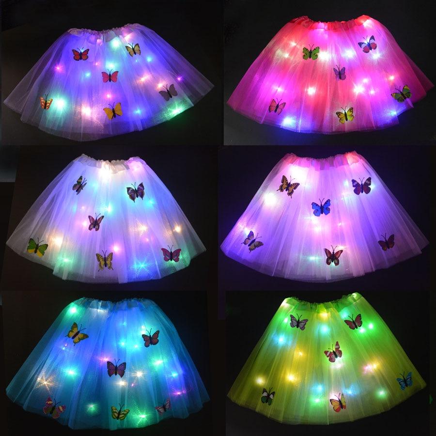 Christmas Kids Girl LED Light Glow Butterfly Tutu Skirt Neon Luminous Party Ballet Dance Dress Cosplay Costume Stage Wear Gift