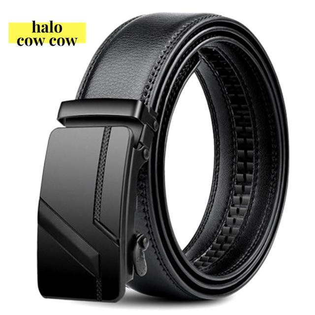 105 150 140 130 160 170cm Large Size Men's Belt PU Brand Fashion Automatic Simple Buckle Black Genuine Leather Belt 3.5cm Width