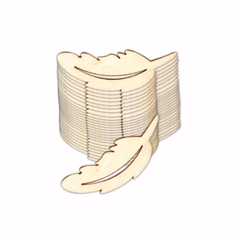 25 uds., hoja de plumas de madera cortada con láser, adornos para manualidades, álbum de recortes, decoración de boda con suministros