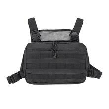 Hot Black Men Chest Bag Adjustable Oxford Chest Rig Hip Hop Streetwear Functional Shoulder Bag Waist Packs