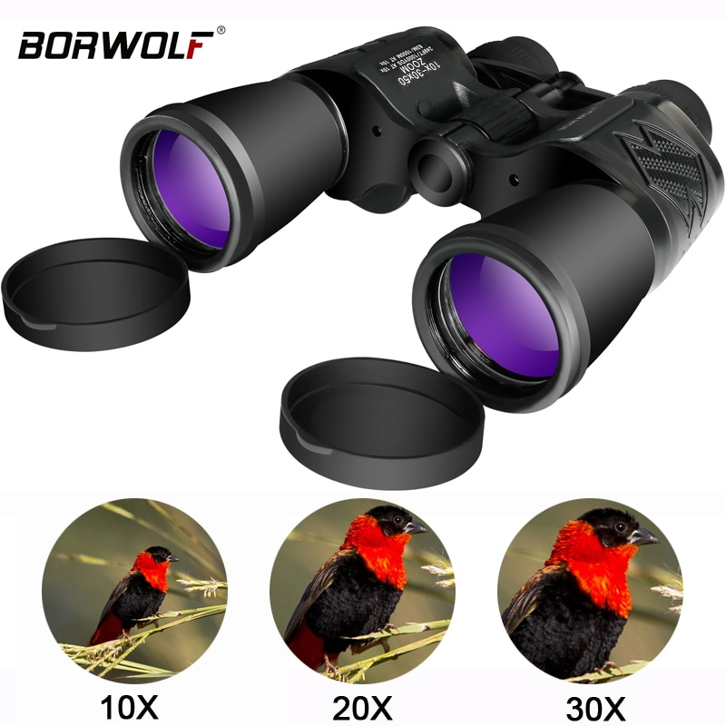 Borwolf 10-30X50 عالية التكبير HD المهنية التكبير قوية مناظير ضوء للرؤية الليلية للصيد تلسكوب أحادي العين