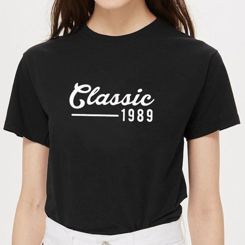 Engraçado harajuku clássico 1989 30th aniversário mulheres camiseta algodão casual engraçado t camisa presente para lady yong menina topo t navio da gota
