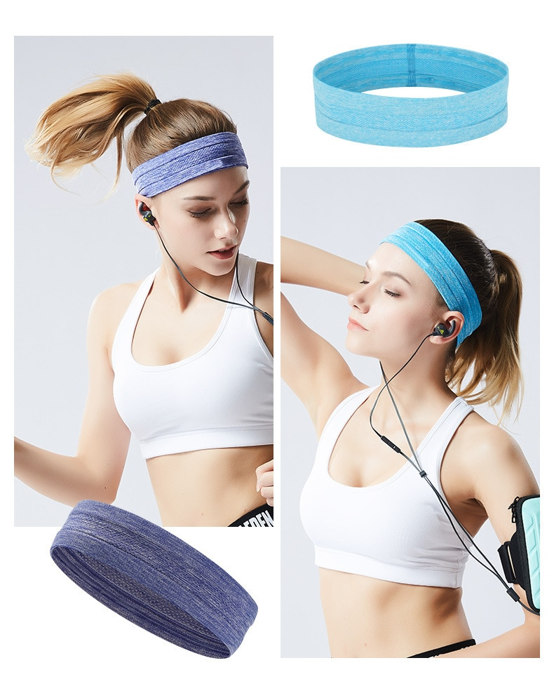 Купить с кэшбэком Sports headband men and women silicone sweat guide belt forehead scarf running basketball fitness yoga hair band