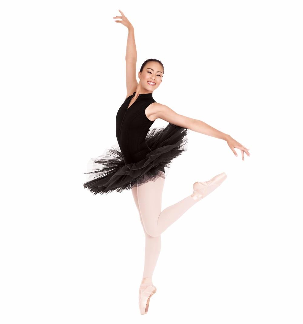 Leotardo de Ballet de cuello alto negro para mujer, Tops de clase de Yoga, leotardos de baile de LICRA Spandex para gimnasia adultos