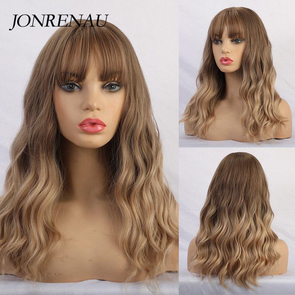 JONRENAU pelucas sintéticas de Color marrón a Rubio Dorado con flequillo pelucas largas de pelo Natural para mujeres blancas/negras
