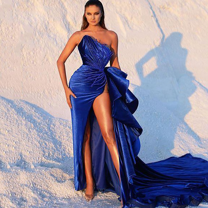 Eightree vestidos de noite sexy sem alças sem mangas alta-divisão ruched vestido de baile de formatura applique cetim venda quente feito sob encomenda vestido de festa
